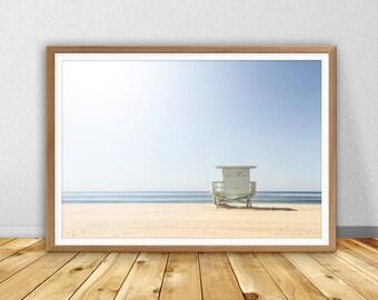 Beach Print, Coastal Wall Art, Beach Photography , Beach Home Decor, Ocean Blue, Beach Hut Print, Sea Print, Bathroom Wall Art  (W0531)