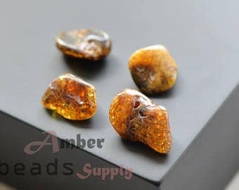 Natural amber stones for jewelry making, Amber stones, Baltic amber beads, 4 pieces. 0446/8