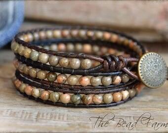 Gemstone Beaded Wrap Bracelet, Wrap Bracelet, Leather Wrap Bracelet, Boho Wrap Bracelet, Triple Wrap Bracelet, Beaded Leather Wrap Bracelet