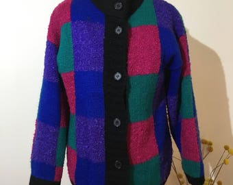 Vintage block colour 90s knit jacket
