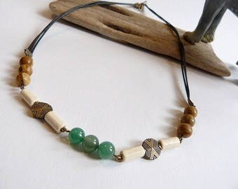 Men's necklace in Jasper sand, green agate and black cord country spirit.