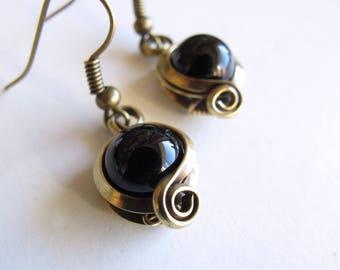 Earrings ethnic black - onyx - antique bronze