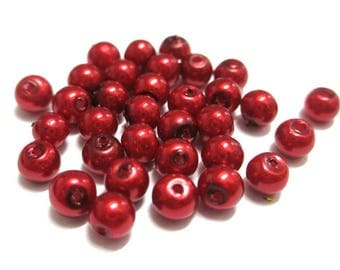 20 mother of Pearl red round glass beads 4mm (A-07)