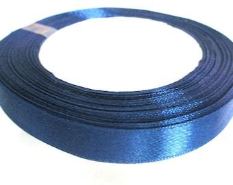 1 reel 23 m 12mm dark blue colored satin ribbon