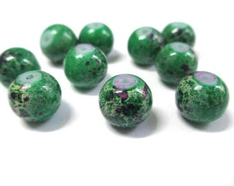 10 green marbled purple glass beads 10mm (S-43)