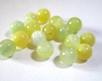 10 striped agate beads shades of yellow and green 4mm