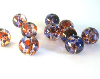 20 orange beads and drawbench translucent purple glass 6mm