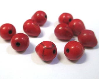 10 drops 10x8mm red howlite beads