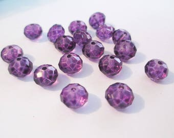 Purple faceted glass 8mm 10 beads