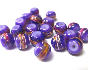 20 multicolored, purple painted glass 6mm beads