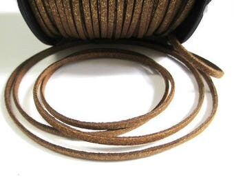 5 m glitter look golden brown suede suede 3 mm cord