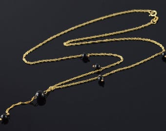 14k 4.2mm Black Onyx Bead Loose Link Chain Necklace Gold 17.6""