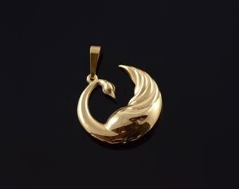 18k Hollow Swan Duck Bird Charm/Pendant Gold