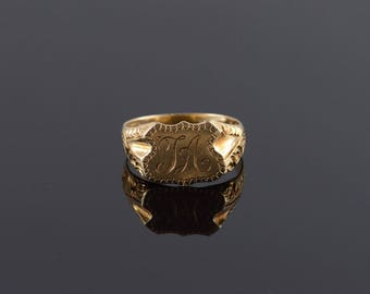 14k Ornate TA Monogrammed Shield Etched Ring Gold