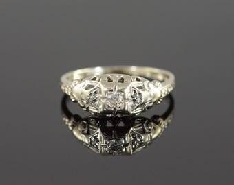 14k 0.08 Ct Old European Cut Diamond Vintage Solitaire Engagement Ring Gold