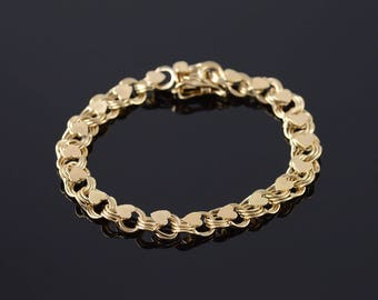 14k Heavy Fancy Link Heart Charm Bracelet Gold 7""