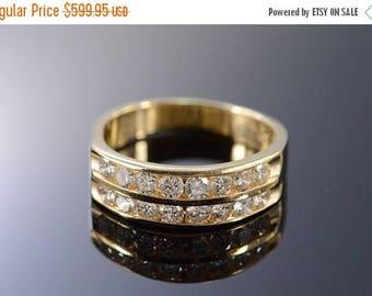 Big SALE 14k 1.00 Ctw Diamond Dual Channel Set Wedding Band Ring Gold