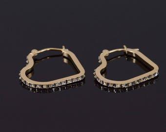 14k Diamond Accented Resin Heart Hoop Earrings Gold
