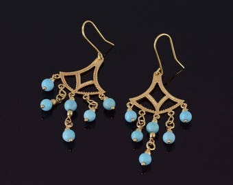 14k Turquoise Beaded Fringe Scalloped Dangle Hook Earrings Gold