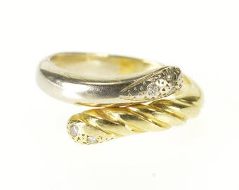 14k Two Tone Diamond Scalloped Rounded Wrap Bypass Ring Gold