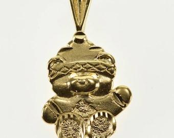 14k Teddy Bear Winter Sweater Hat Stuffed Animal Pendant Gold