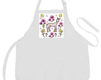 White Artist Apron,Llama or Hedgehogs & Apples Apron,3 Big Pockets,Adult Apron,Art Smock,Kitchen Apron,Art Apron,  Gift