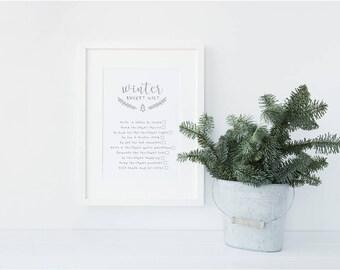 Winter Bucket List Christmas / Festive Keepsake Decorative print