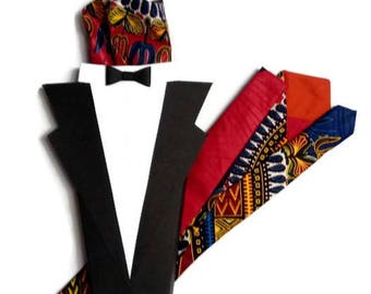 Mens Blue Red African Wax Print Tie, Mens African Clothing, Adult Teen Dashiki Graduation Wedding Necktie , Gift For Men, Dress Accessories