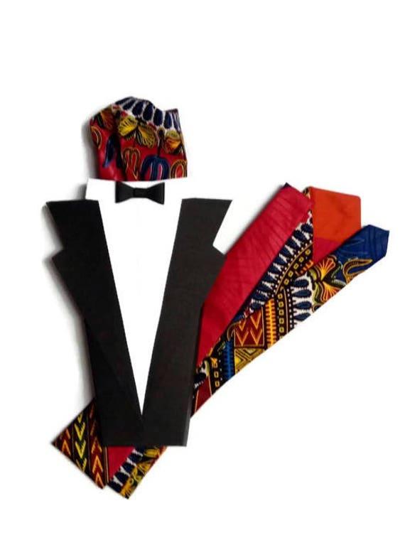 Mens Blue Red African Wax Print Necktie