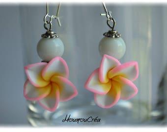 White fimo Flower Earrings,