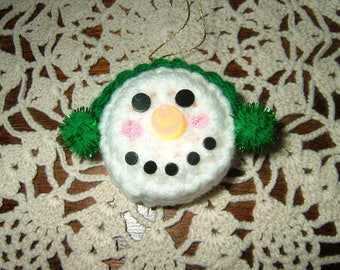 Crocheted Battery Operated Tealight Snowman Ornament