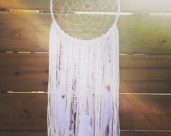 "9"" White Dreamcatcher, Boho Wall Decor, Handmade Dreamcatcher, Hippie Decor, Goddess Wall Decoration"