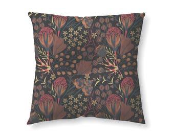 Maroon Forest Botanic- floor pillow
