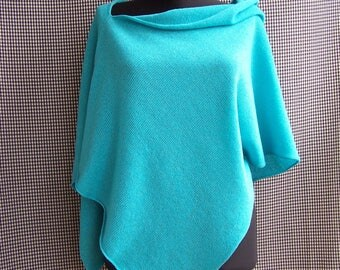 knit glitter sparkly blue-green bright turquoise poncho wrap spring autumn musthave