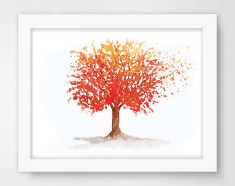 Red Orange Watercolor Tree / Autumn watercolor tree / Print Watercolor Painting / Ink Painting / Tree Aquarelle/ Botanical Art / Wall Decor