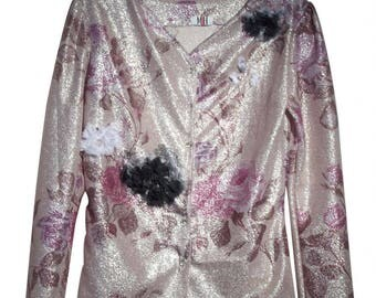 Vest embroidered chiffon flowers with glitter