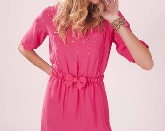 Dress Big Bang pink embroidered beads