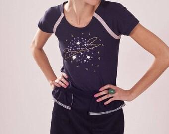 Purple Moon hand embroidered short sleeve T-shirt