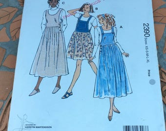 Kwik Sew Sewing Pattern 2390 Jumpers Modest Jumpers Two Lengths Loose Fitting Waist Deep Armholes   Sewing Pattern Size XS S M L XL Uncut