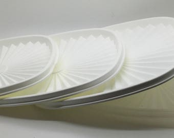 "Vintage Tupperware  Square Servalier Bowl Replacement Seal Lid Top  Cover White Sheer Clear  837 8 1/4 ""839 7 ""  You Choose"