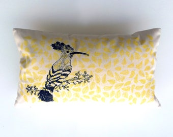 Cushion hoopoe screen print 50 x 30 cm