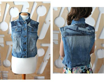 Denim jacket Boho Hippie Southwestern Sleeveless Cropped jacket Duster jacket Trucker jacket Biker Steampunk Preppy Grunge Hipster Festival
