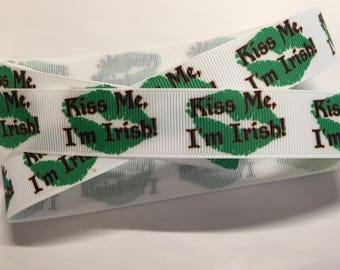 "Irish 7/8"" Grosgrain Ribbon - Kiss Me"