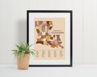 Parishes of Louisiana Map Art Print (8x10), Pattern, Historic, Commerce, History, Cajun Creole Acadiana