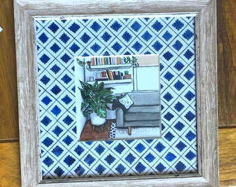 Blue and White Fashionable Home Original Painting