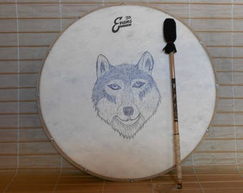 22'' Shaman Drum with stick - The strange forest