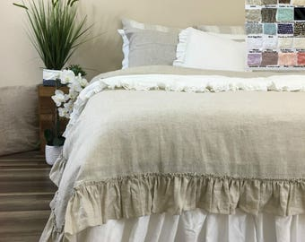 shabby chic linen duvet cover with country ruffles linen ruffle bedding shabby chic bedding