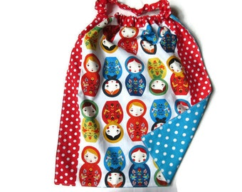 canteen towel, kids table, nursery elasticated reversible Russian dolls, blue, red, multicolor