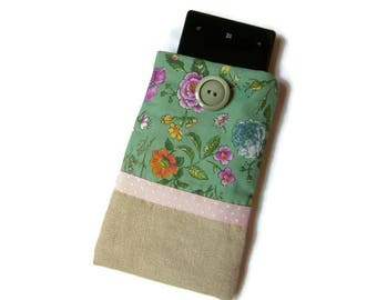 cover, Pocket for cell phone, phone case, liberty green, ecru fabric, flowers