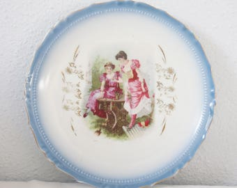 Antique Porcelain Wall Plate, Gradient Blue Rims, Handpainted Romantic Decor, France